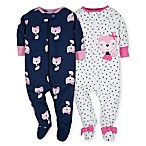 Gerber® Size 0-3M 2-Pack Fox Footies in Pink/Navy