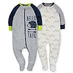 Gerber® Size 0-3M 2-Piece Hedgehog Sleep N' Play Footies in Grey