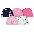 Gerber® Size 0-6M 5-Pack Fox Caps in Pink/Blue