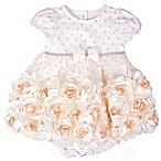 Nannette Baby® Size 6-9M 2-Piece Roses Dress and Diaper Cover Set in Ivory
