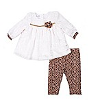 Nannette Baby® Size 0-3M 2-Piece Animal Top and Legging Set in Ivory