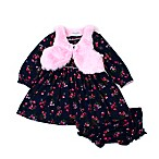 Nanette Baby® Size 0-3M 2-Piece Floral Dress and Panty Set in Navy