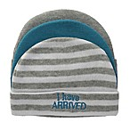 "So 'dorable Size 0-6M 3-Pack ""I Have Arrived"" Knit Beanies in Blue/White/Grey"