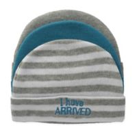 """So 'dorable Size 0-6M 3-Pack """"I Have Arrived"""" Knit Beanies in Blue/White/Grey"""