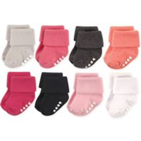 Hudson Baby® Size 0-6M 8-Pack Non-Skid Cuff Socks in Pink/Black