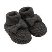 carter's® Size 0-6M Knit Booties with Bow in Black