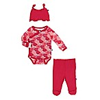 KicKee Pants® Newborn 3-Piece Rose Kimono Long Sleeve Bodysuit, Pant and Hat Set in Red
