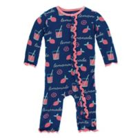 "KicKee Pants® Newborn ""Lemonade"" Long Sleeve Coverall in Navy"