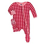 KicKee Pants® Newborn Gingham Muffin Ruffle Footie in Red