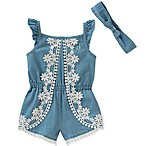 Calvin Klein Size 3-6M Lace-Trimmed Chambray Romper and Headband Set