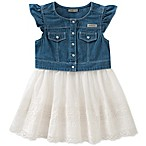 Calvin Klein Size 12M Denim Dress with White Lace Skirt in Blue/White