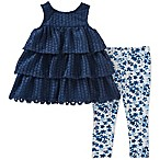 Calvin Klein Size 3-6M 2-Piece Crochet Top and Floral Legging Set in Navy