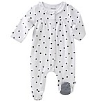 absorba® Size 0-3M Polka Dot Footie in Navy/White