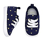carter's® Size 3-6M Heart Print Sneaker in Navy/Gold
