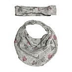 Sterling Baby Size 0-6M 2-Piece Heart Bib and Headband Set in Grey