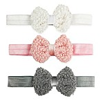 Tiny Treasures 3-Pack Fuzzy Bow Headbands in Pink/White/Charcoal