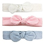 Tiny Treasures 3-Pack Sparkle Knot Headbands in White/Pink/Light Blue