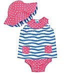 Gerber® Size 3-6M 3-Piece Wave Striped Dress, Reversible Hat and Diaper Cover Set