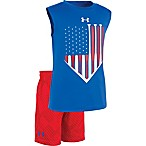 Under Armour® Size 0-3M 2-Piece Americana Sleeveless Shirt and Short Set in Red/Blue