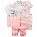 carter's® Size 12M 4-Piece Cute and Sleepy Pajama Set in Peach