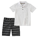 Calvin Klein Size 3T 2-Piece Polo Shirt and Striped Short Set in White
