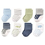 Luvable Friends™ Size 6-12M 8-Pack Safari Socks in Blue/White