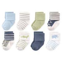 Luvable Friends™ Size 6-12M 8-Pack Safari Socks in Blue/White
