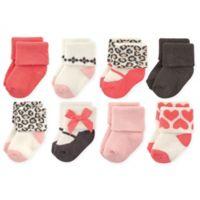 Luvable Friends™ Size 6-12M 8-Pack Leopard Socks in Pink