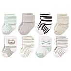 Luvable Friends® Size 6-12M 8-Pack Owl Terry Socks in Mint/Grey