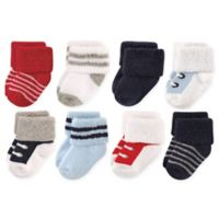 Luvable Friends® Size 0-6M 8-Pack Terry Sneaker Socks in Red/Navy