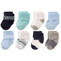 Luvable Friends® Size 6-12M 8-Pack Terry Socks in Mint/Navy Stripes