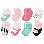 Luvable Friends® Size 6-12M 8-Pack Mary Jane Terry Socks in Mint/Pink