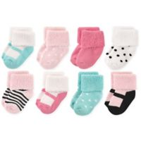 Luvable Friends® Size 0-6M 8-Pack Mary Jane Terry Socks in Mint/Pink