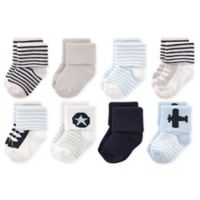 Luvable Friends® Size 6-12M 8-Pack Airplane Terry Socks in Blue/White