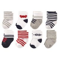 Luvable Friends® Size 6-12M 8-Pack Nautical Terry Socks in Blue/Grey