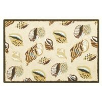 Gold Coast Shells 2' x 3' Wool Accent Rug in Tan