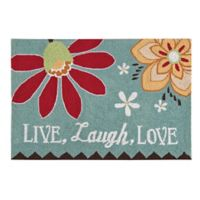 """C&F Home 2' x 3' Phoebe """"Live. Laugh. Love."""" Accent Rug in Blue"""