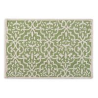 Lattice 2' x 3' Hand-Hooked Accent Rug in Green