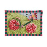 C&F Home 2' x 3' Flower Bike Hooked Accent Rug in Green