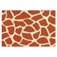 Giraffe 2' x 3' Wool Accent Rug in Orange