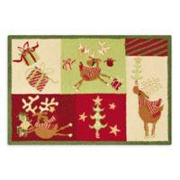 Reindeer Whimsy 2' x 3' Hand-Hooked Accent Rug in Red