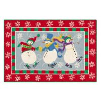 C&F Home 2' x 3' Skiing Snowman Accent Rug in Blue
