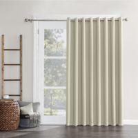 Sun Zero Mariah Grommet Room Darkening Sliding Door Curtain Panel in Pearl