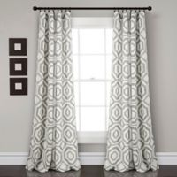 Octagon Blocks 84-Inch Room Darkening Rod Pocket Window Curtain Panel Pair in Grey