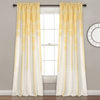 Striped Medallion 84-Inch Room Darkening Rod Pocket Window Curtain Panel Pair in Yellow