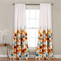 Percy Bloom 84-Inch Room Darkening Rod Pocket Window Curtain Panel Pair in Tangerine