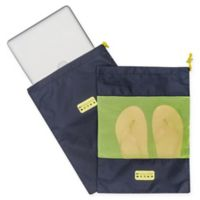 MYTAGALONGS® 2-Piece Drawstring Travel Bag Set in Navy/Lime