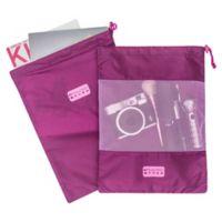 MYTAGALONGS® 2-Piece Drawstring Travel Bag Set in Purple