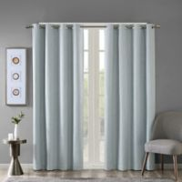 SunSmart Maya 84-Inch Heathered Grommet-Top Room Darkening Window Curtain Panel in Aqua