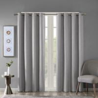 SunSmart Maya 54-Inch Printed Grommet-Top Room Darkening Window Curtain Panel in Grey